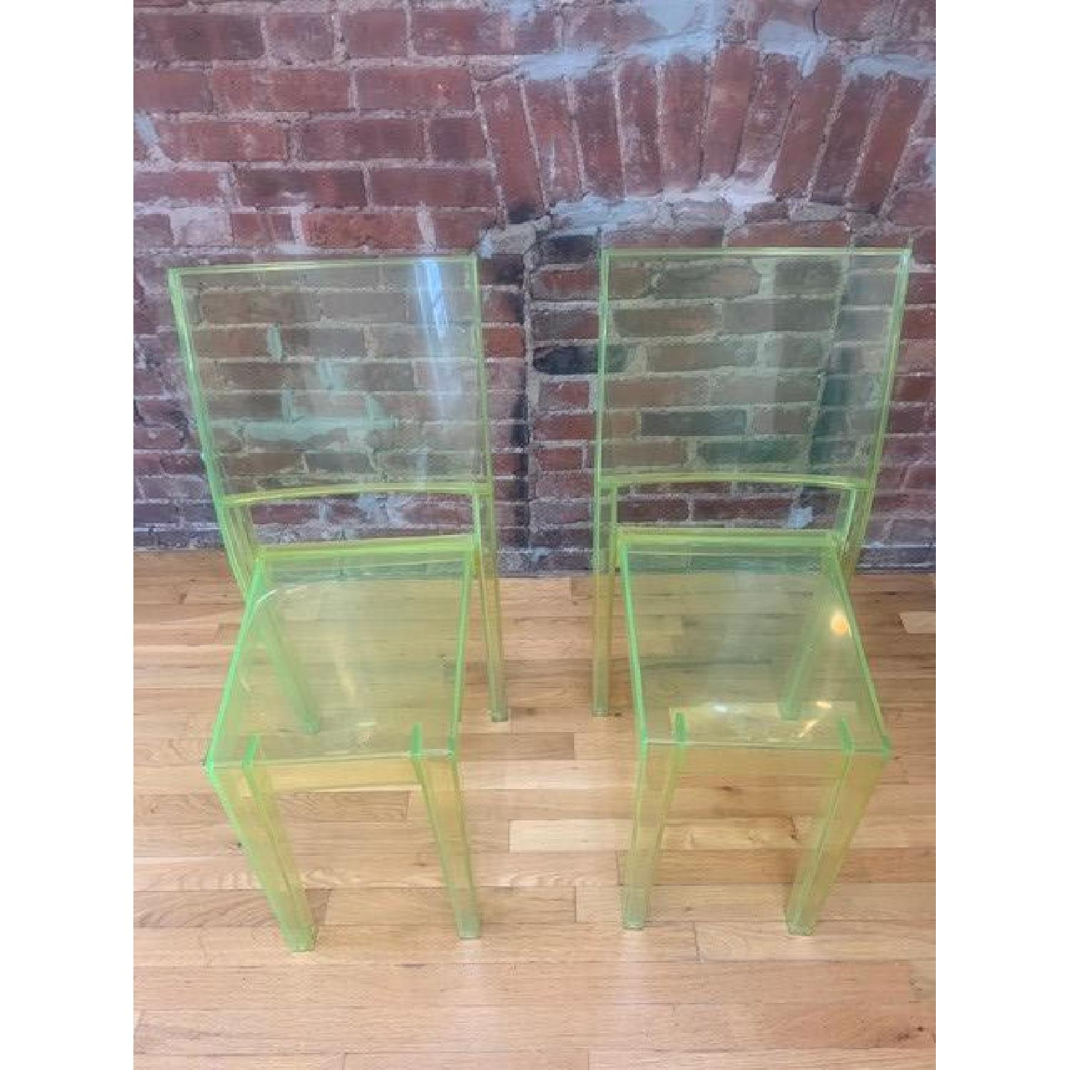 Kartell Green Acrylic Stackable Chairs - image-1