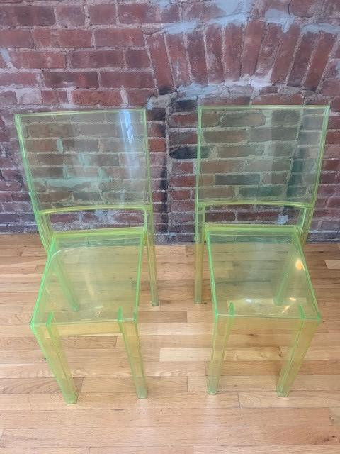 Kartell Green Acrylic Stackable Chairs