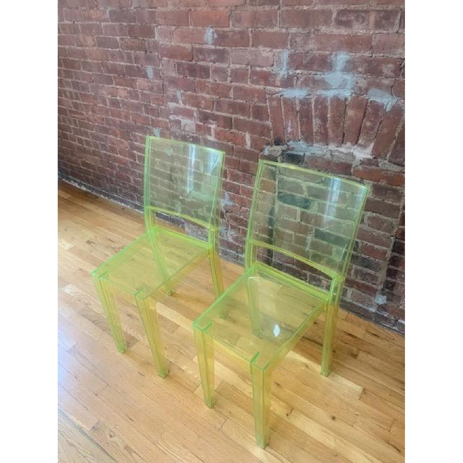 Kartell Green Acrylic Stackable Chairs - image-2