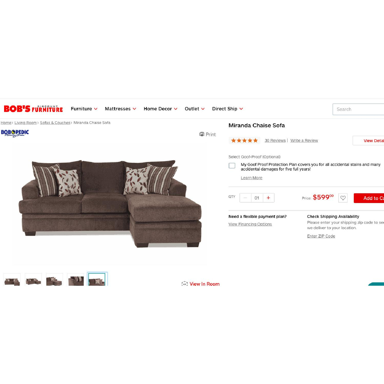 Bob's Miranda Chaise Sectional Sofa in Dark Brown - image-4