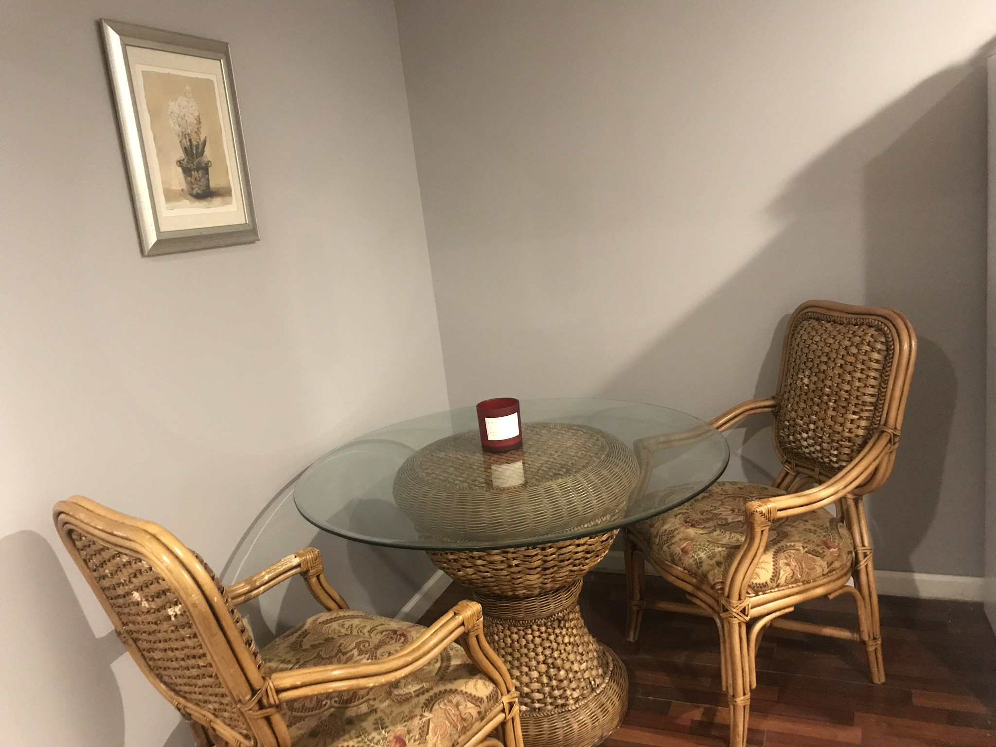 5-Piece Wicker & Glass Dining Set