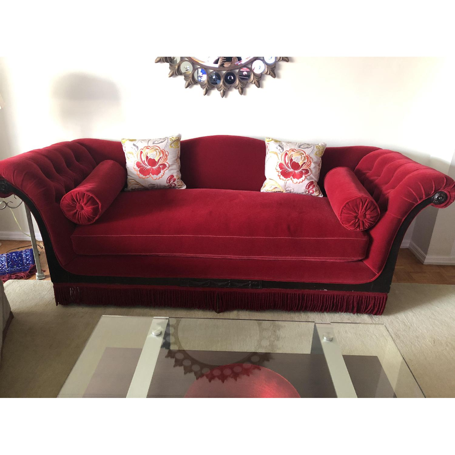 Vintage Cherry Red Mohair Sofa w/ Bolsters + Armchair - image-1