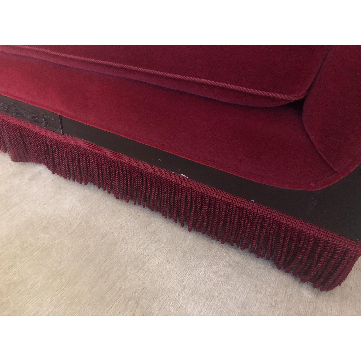 Vintage Cherry Red Mohair Sofa w/ Bolsters + Armchair - image-2