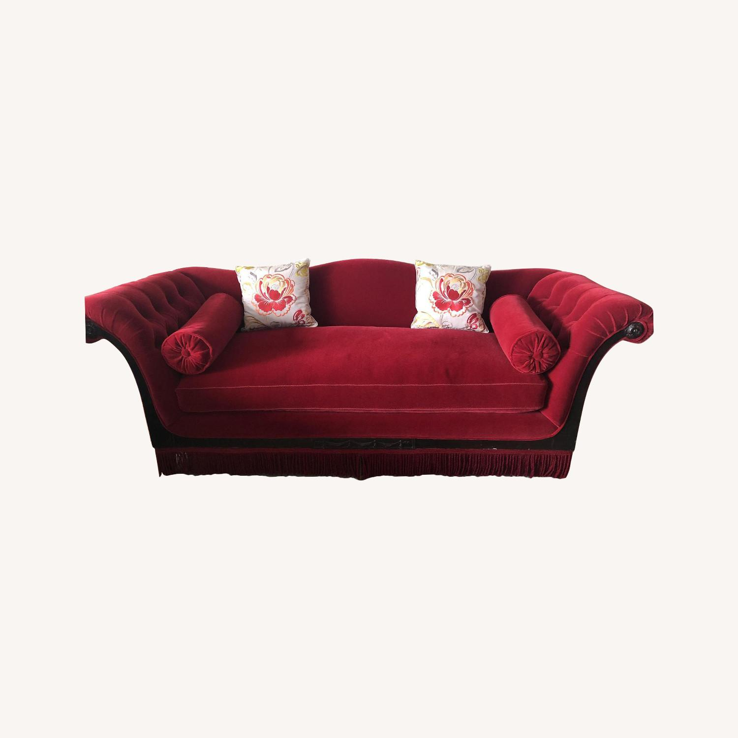 Vintage Cherry Red Mohair Sofa w/ Bolsters + Armchair - image-0