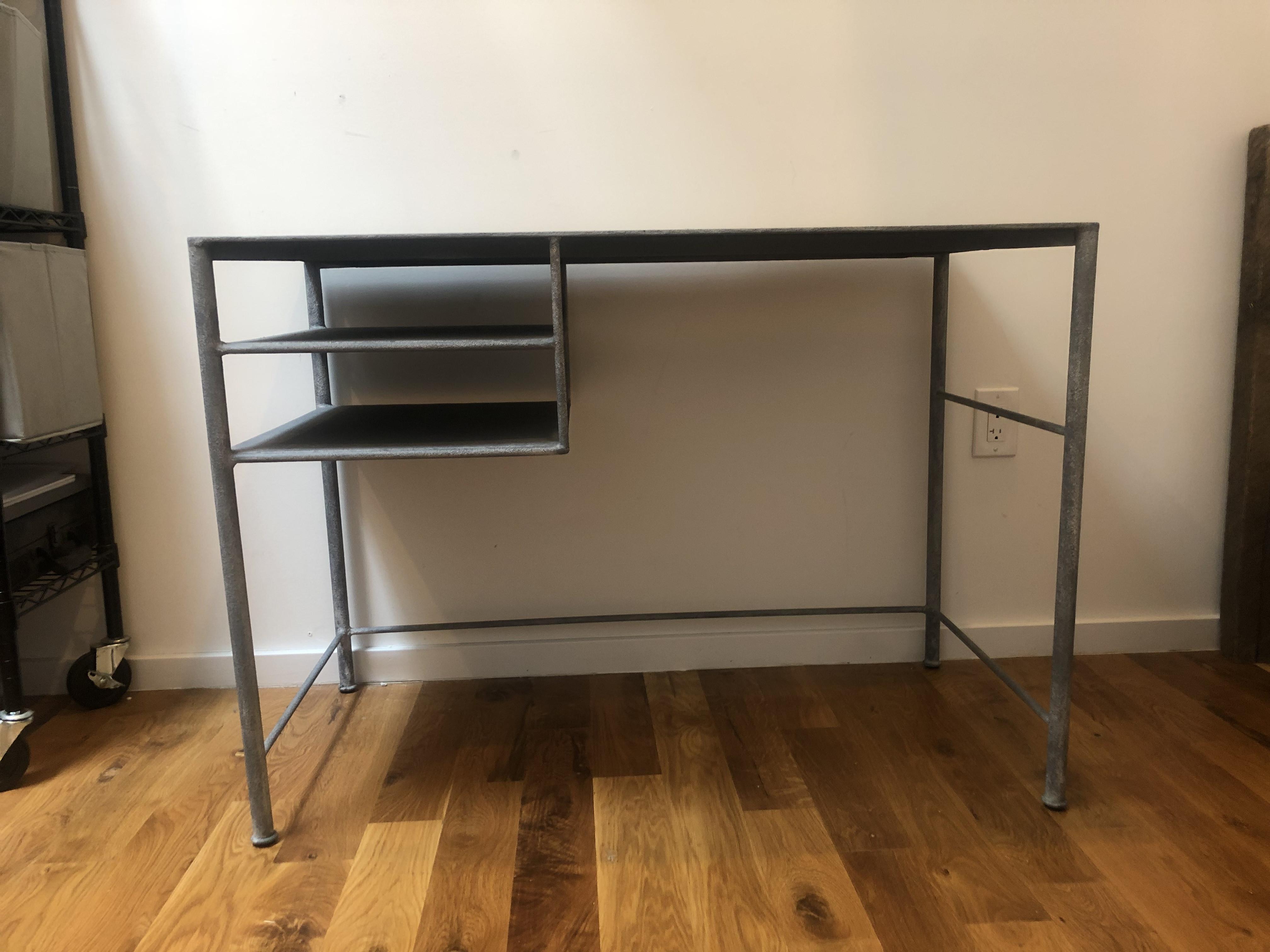 ABC Carpet and Home Concrete-Texture Top & Metal Desk