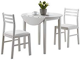 Monarch White Drop Leaf Table w/ 2 Chairs