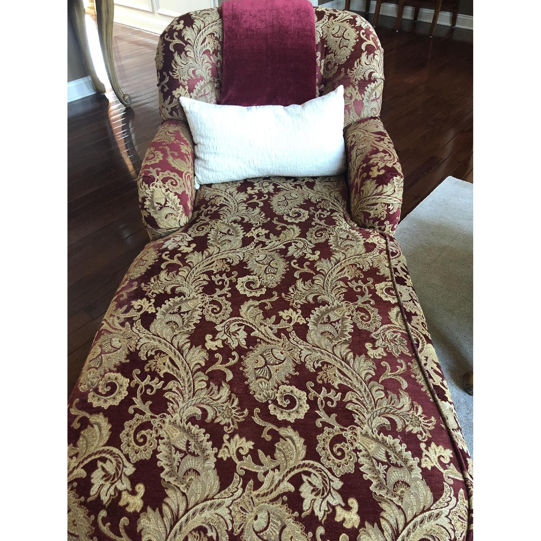 Bassett Red/Gold Upholstered Chaise - image-1
