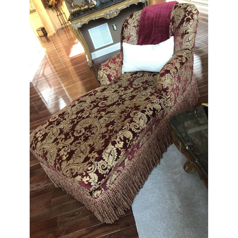 Bassett Red/Gold Upholstered Chaise - image-2