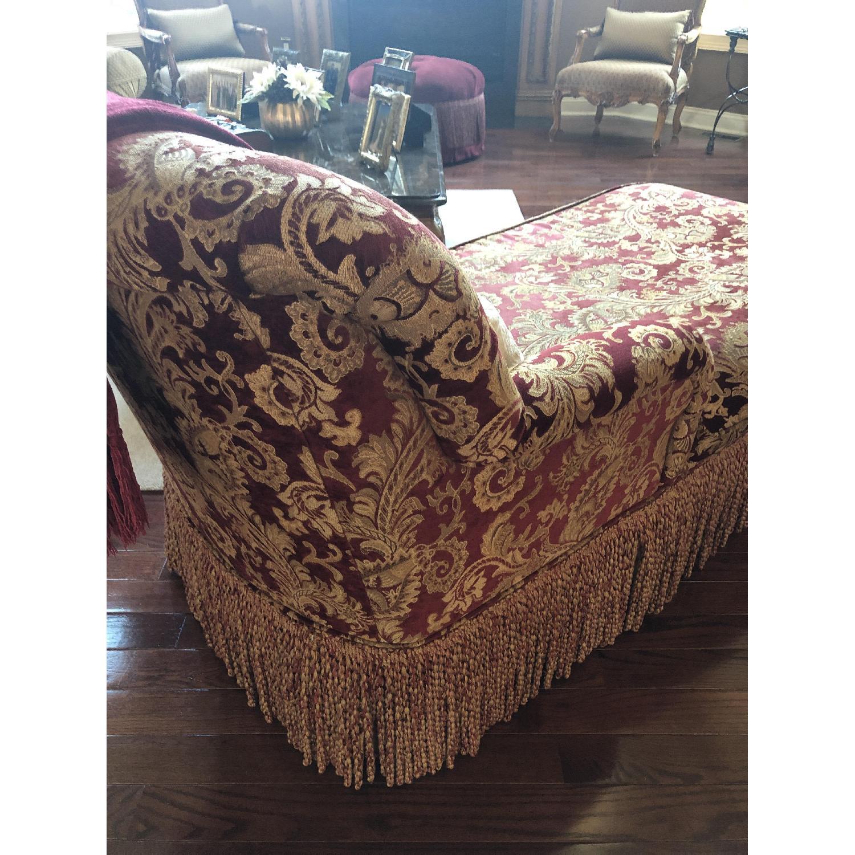 Bassett Red/Gold Upholstered Chaise - image-3