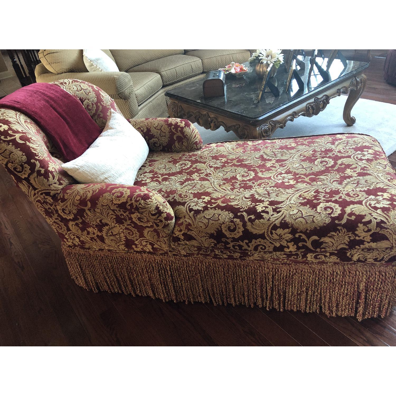 Bassett Red/Gold Upholstered Chaise - image-4