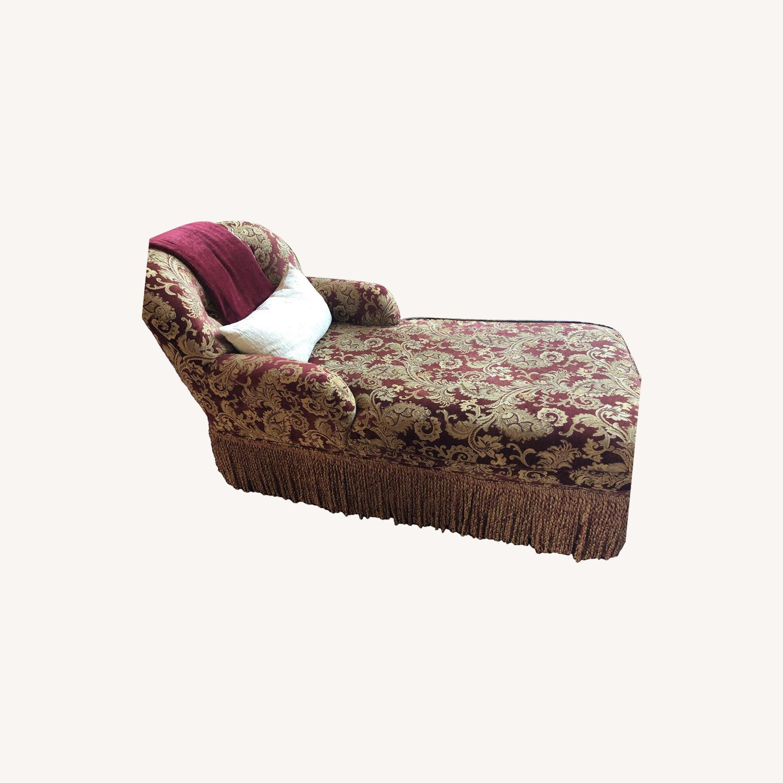 Bassett Red/Gold Upholstered Chaise - image-0