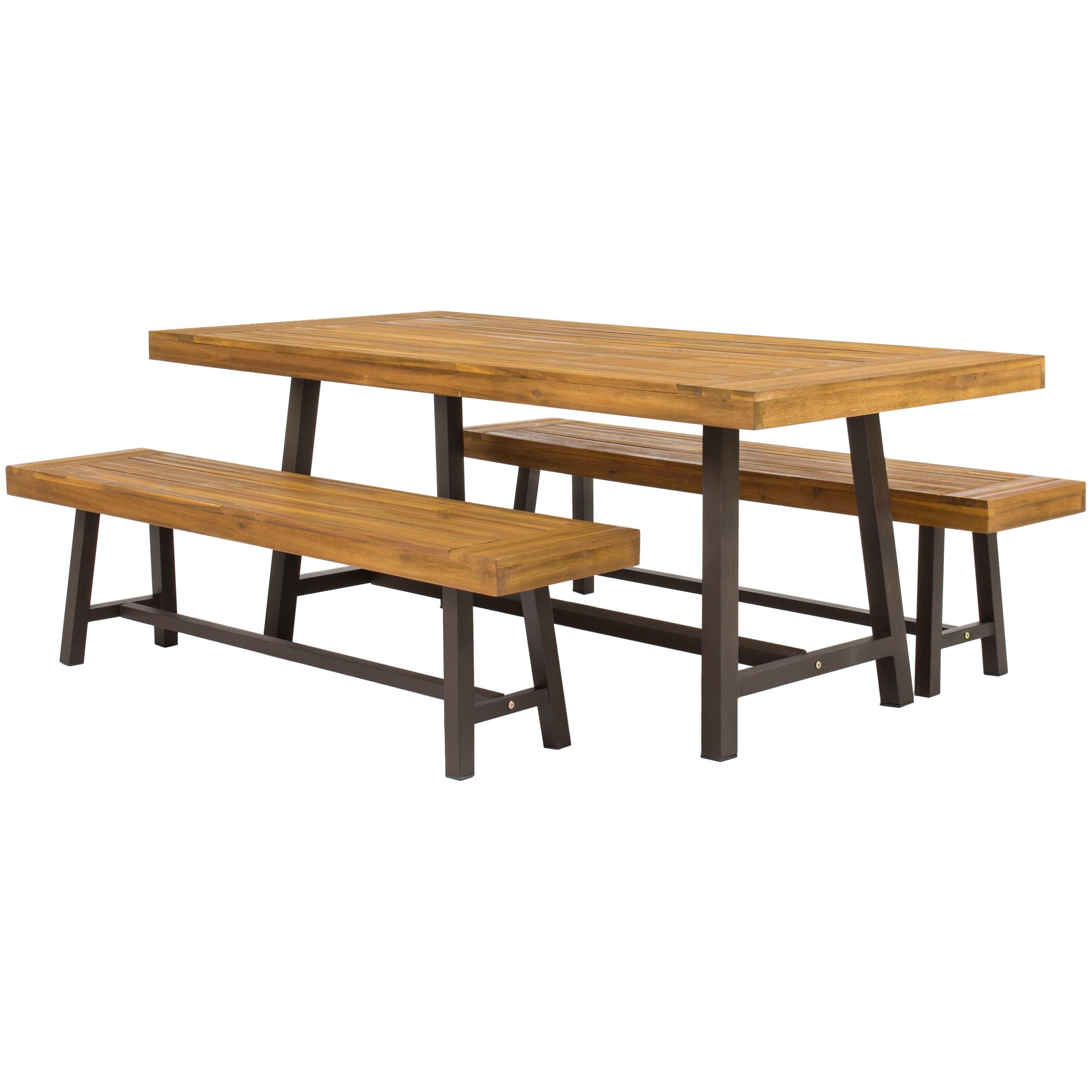 3 Piece Acacia Wood Picnic Dining Set