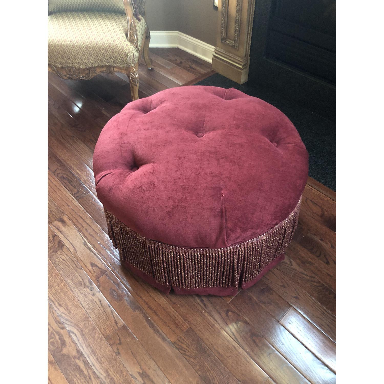 Bassett Red/Gold Upholstered Ottoman - image-1