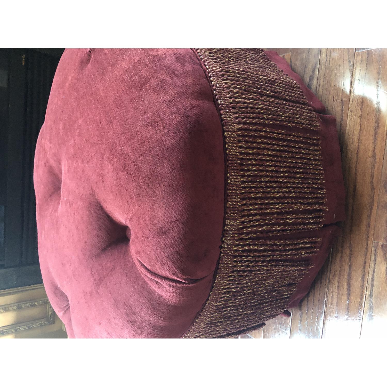 Bassett Red/Gold Upholstered Ottoman - image-3