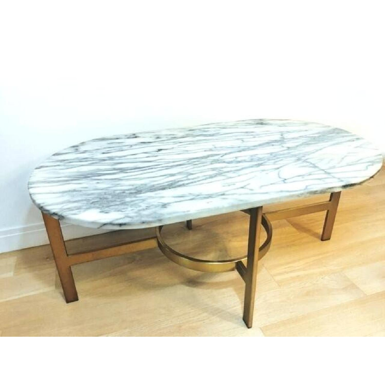 West Elm Oval White Marble Brass Base Coffee Table Aptdeco