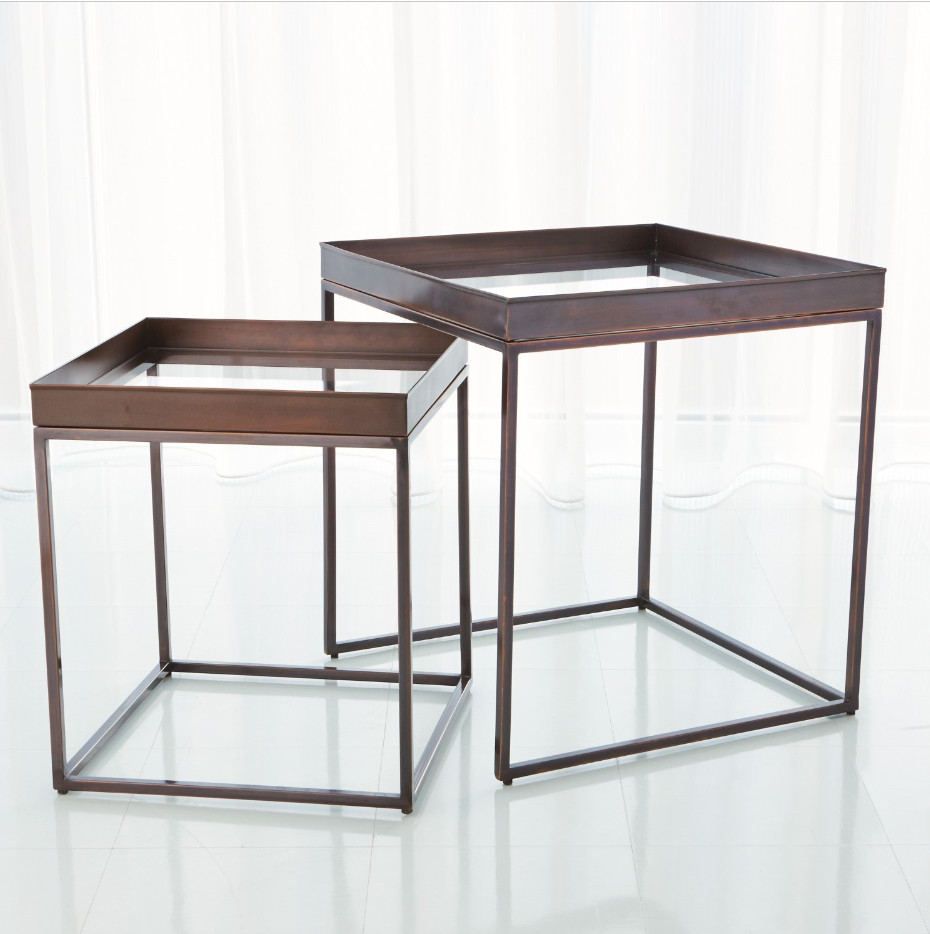Global Views 2 Piece Bronze Nesting Tables