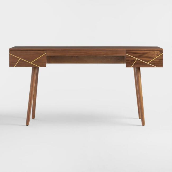 World Market Walnut Wood & Brass Metal Inlay Dustin Desk