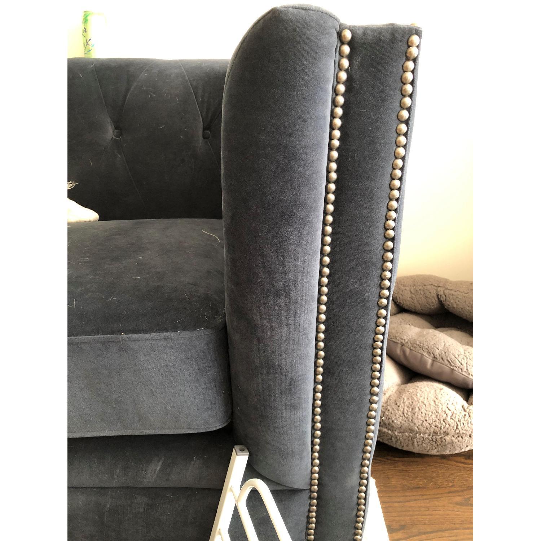 Pier 1 Quinn Navy Velvet Tufted Tuxedo Sofa - image-3