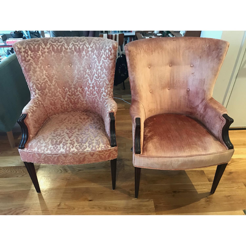Vintage Rose Velvet & Brocade Lounge Chairs - image-1