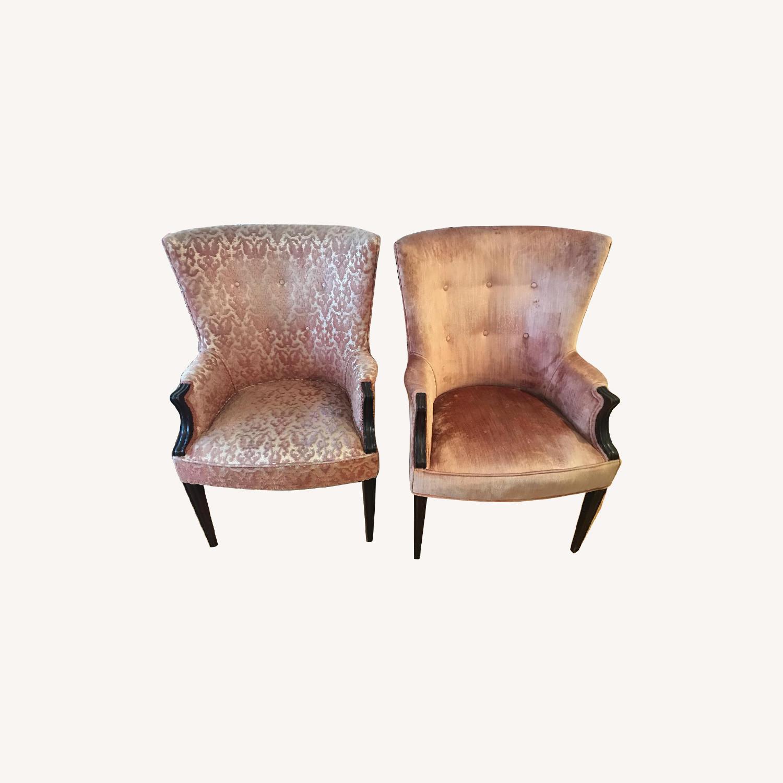 Vintage Rose Velvet & Brocade Lounge Chairs - image-0