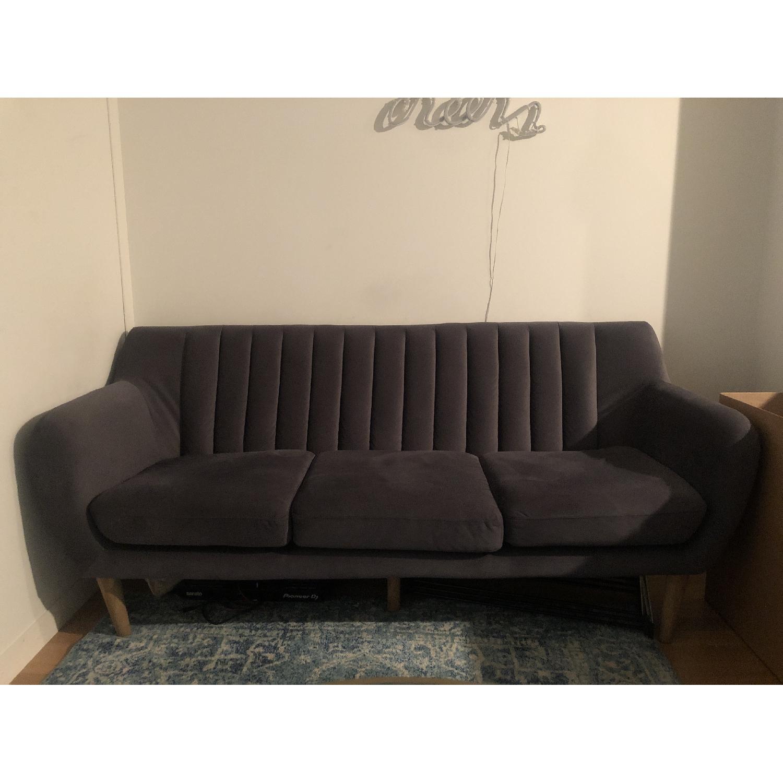 Urban Outfitters Mid Century Dark Grey Sofa - image-2