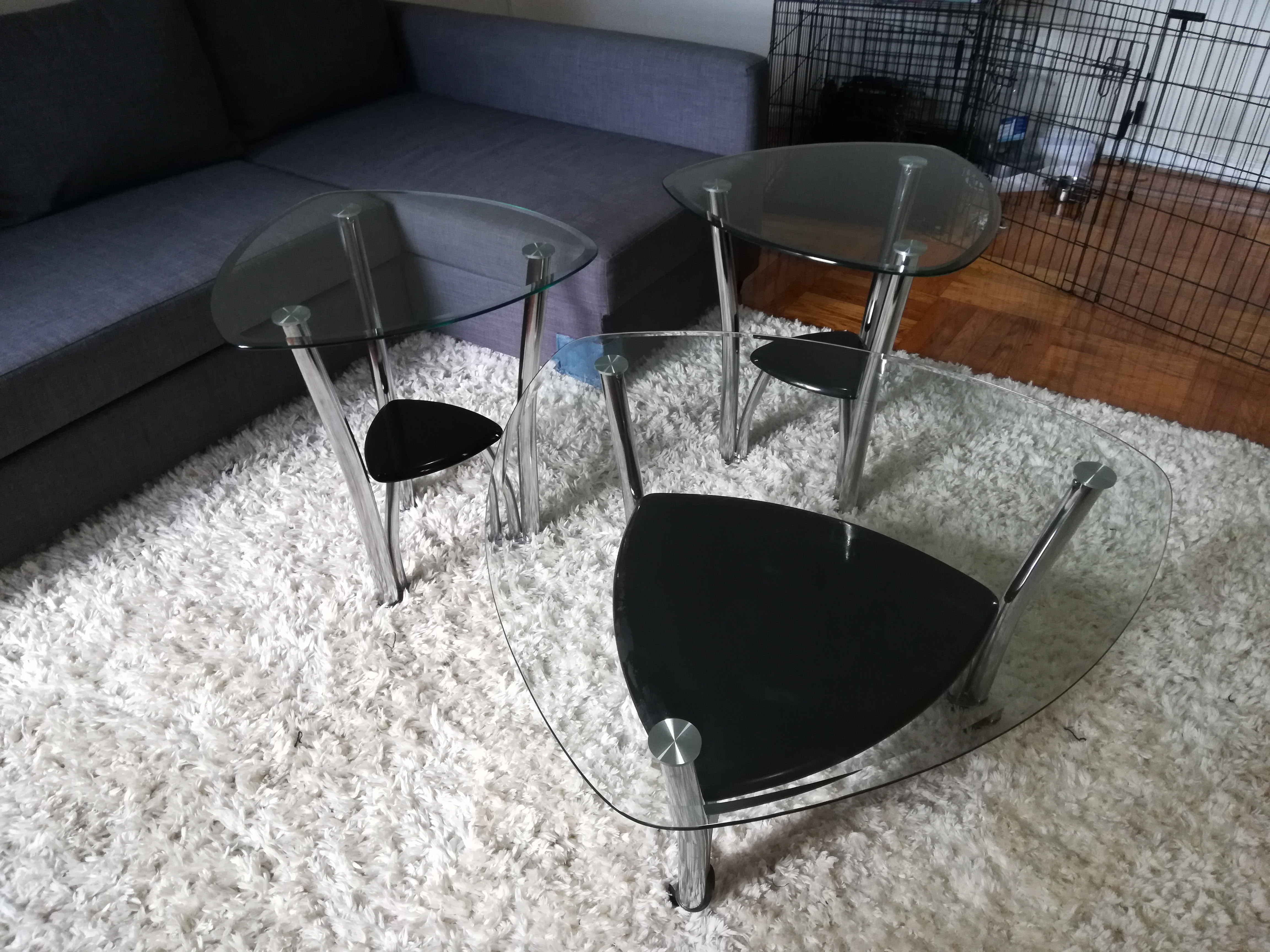 Black Glass Top Coffee Table + 2 Side Tables