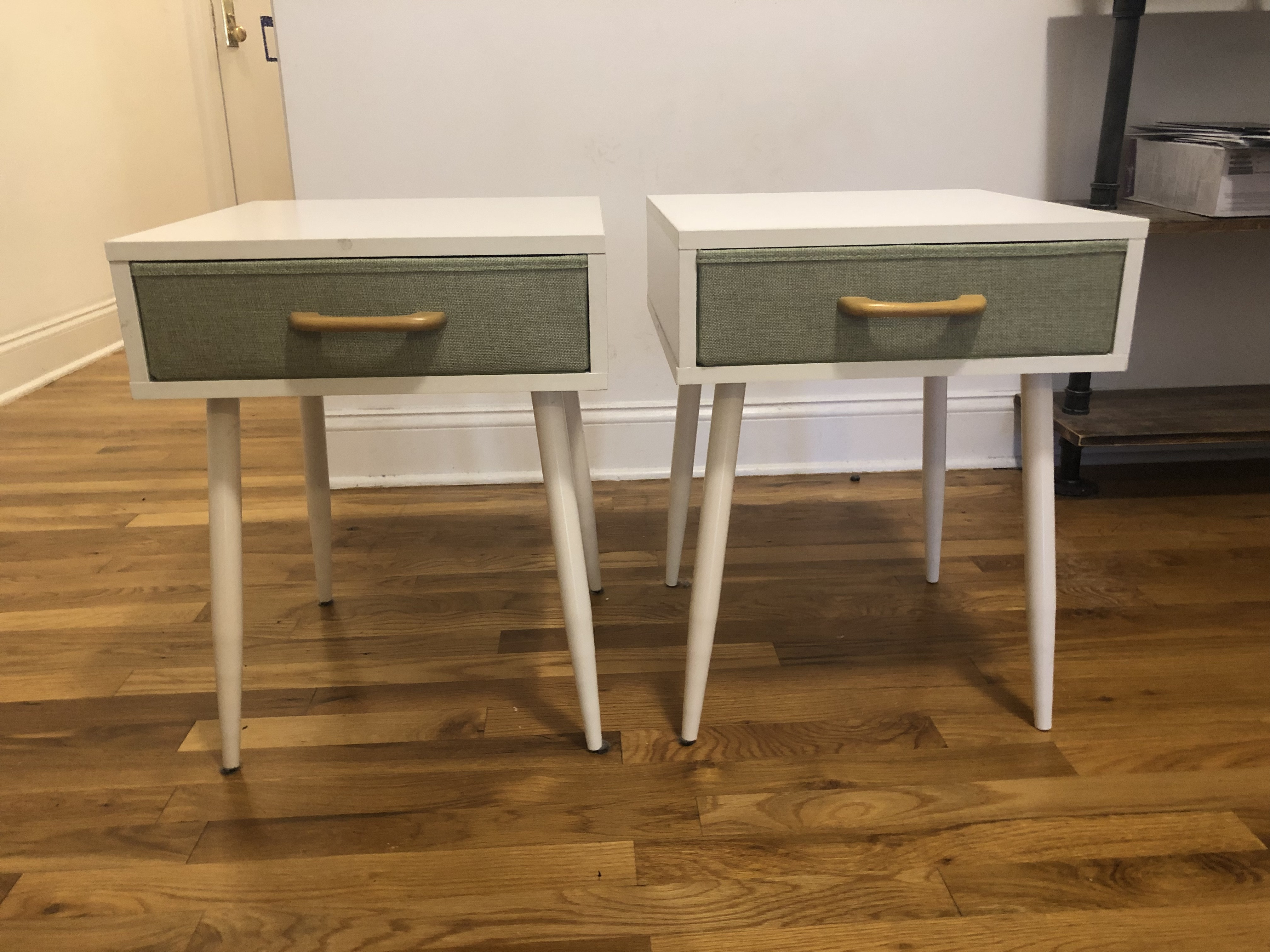 White and Green Nightstands