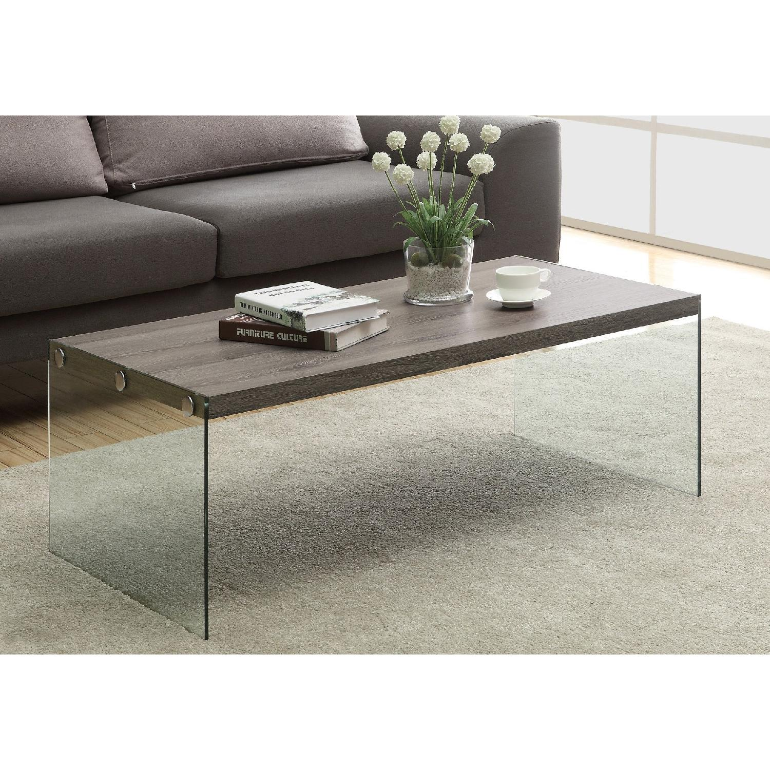 Monarch Dark Taupe Coffee Table w/ Tempered Glass Legs - image-1