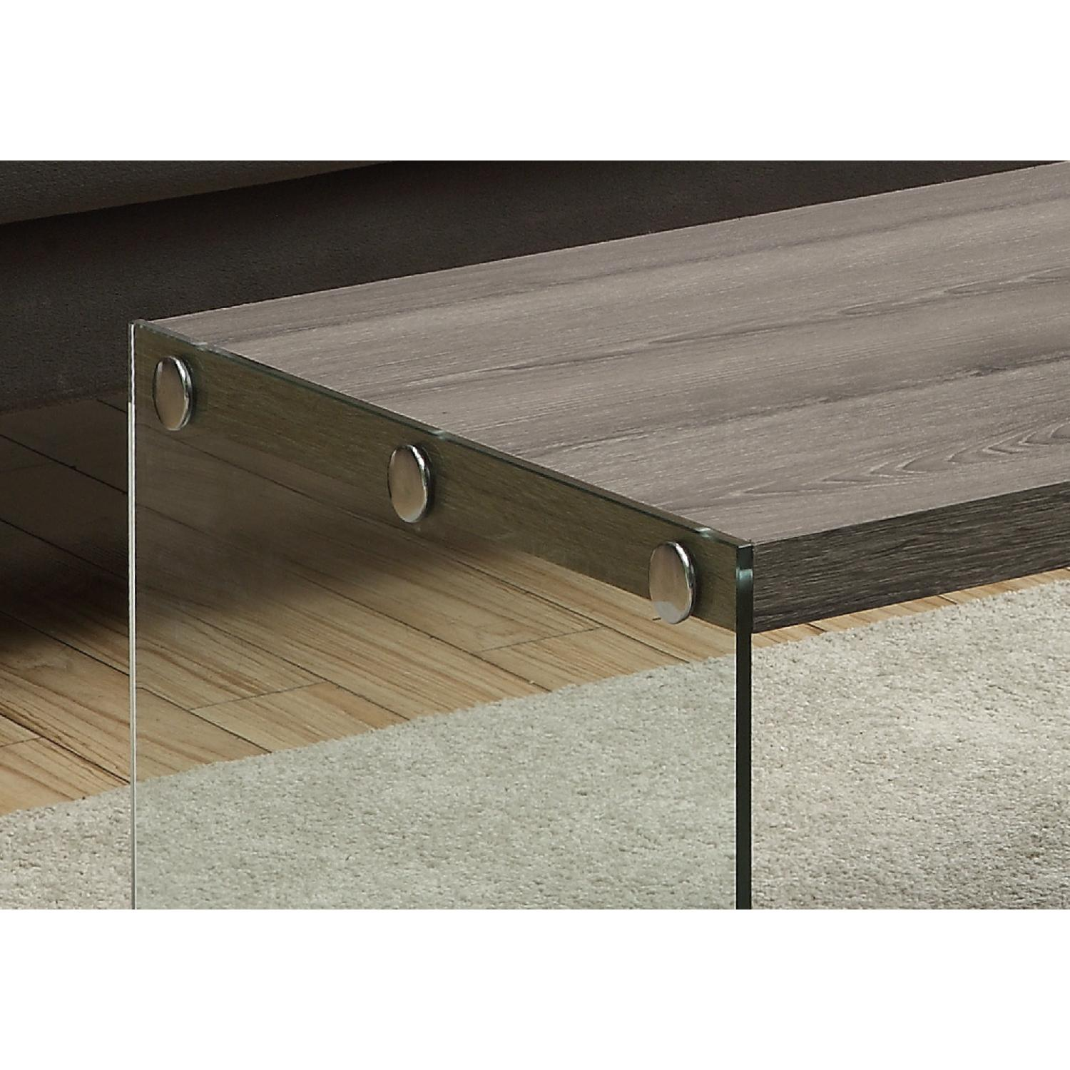 Monarch Dark Taupe Coffee Table w/ Tempered Glass Legs - image-2