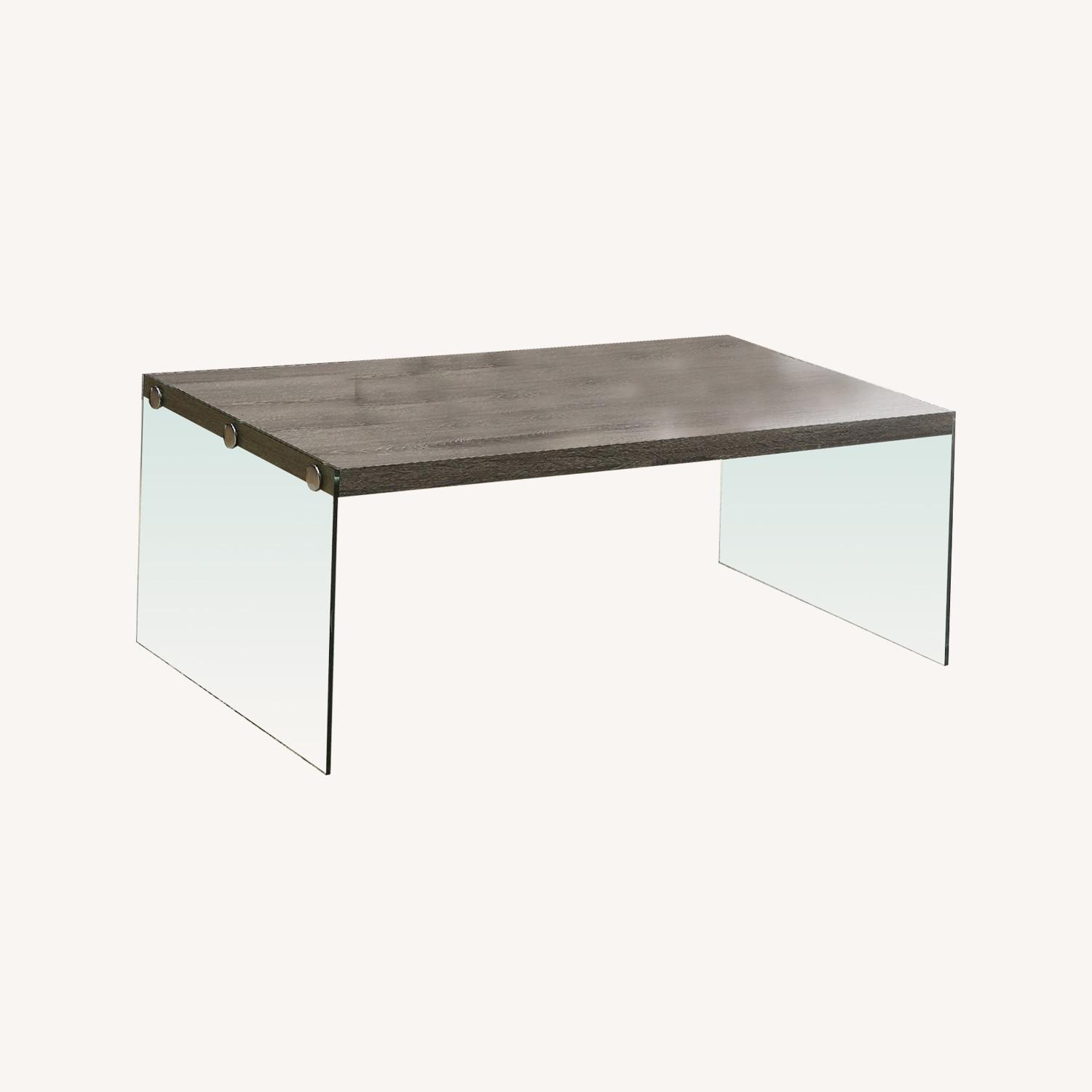 Monarch Dark Taupe Coffee Table w/ Tempered Glass Legs - image-0