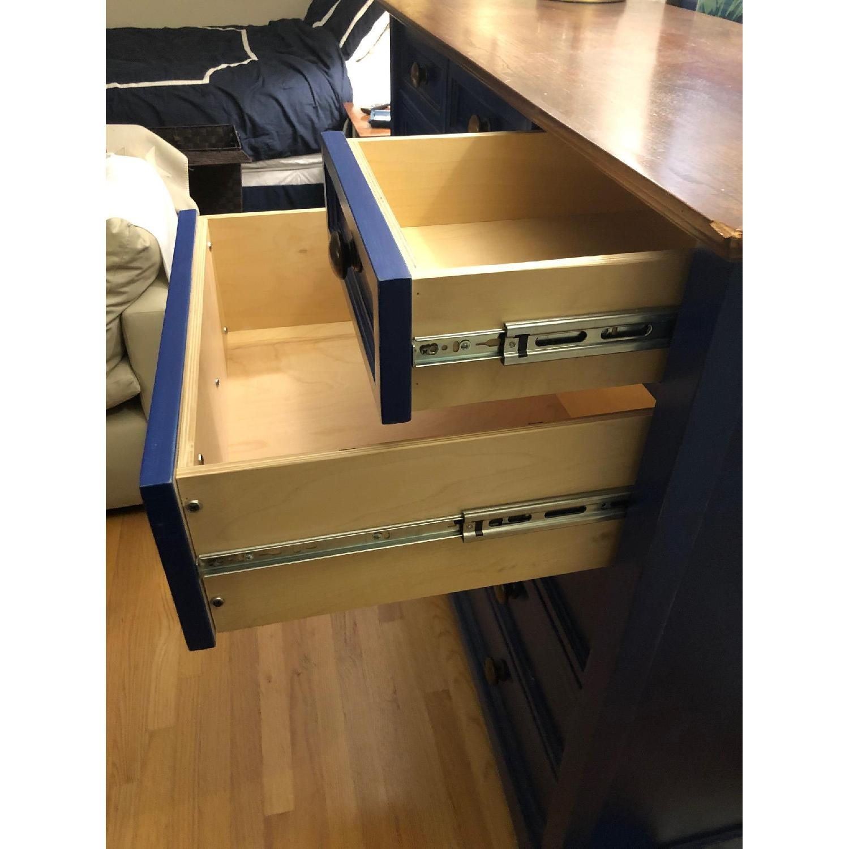 Custom Large Navy Blue Dark Wood Stained Dresser - image-4