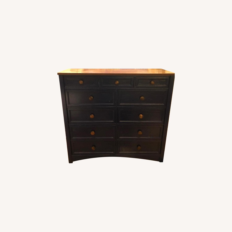 Custom Large Navy Blue Dark Wood Stained Dresser - image-0