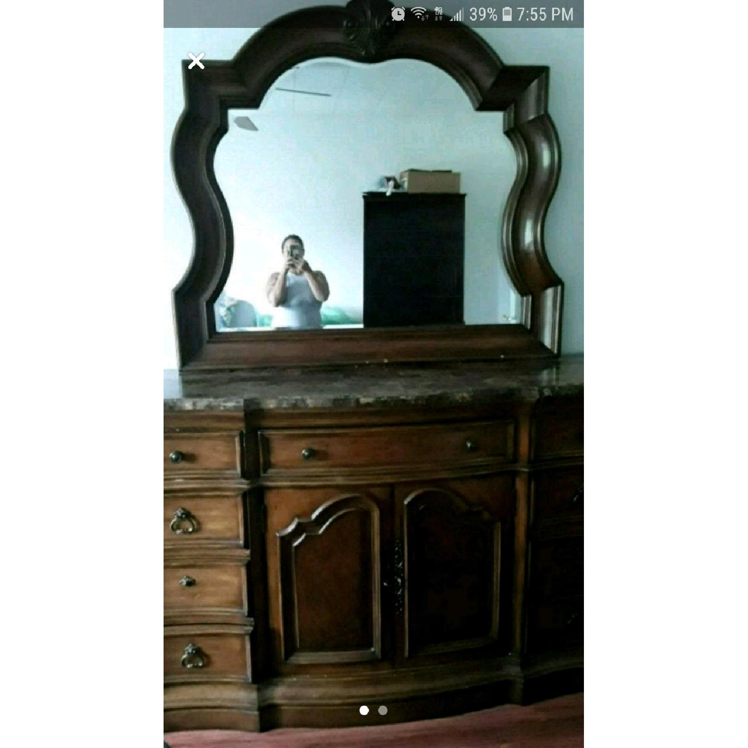 Empire Furniture Marble Top Dresser w/ Mirror - image-1