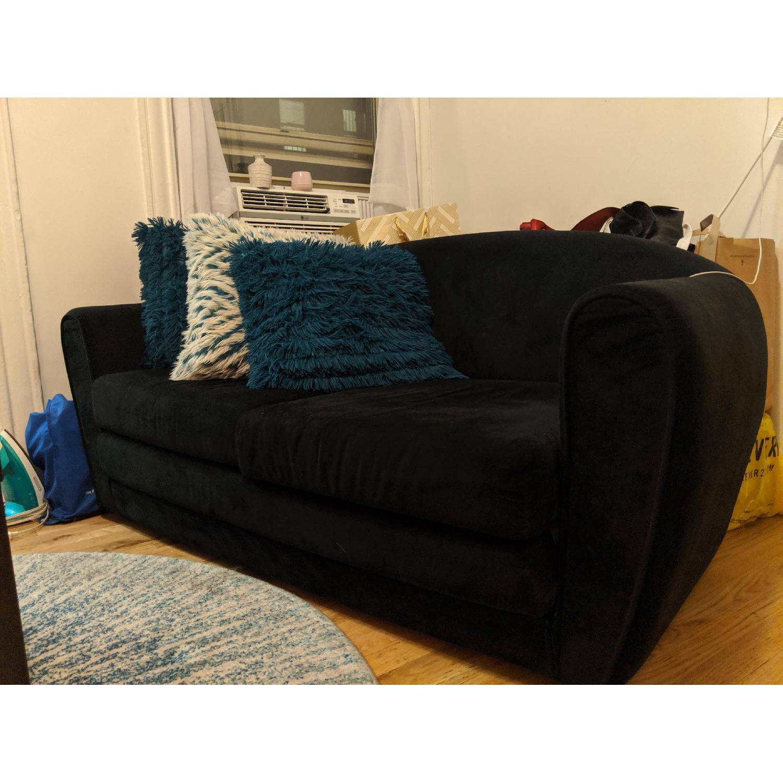 Black Suede Sleeper Sofa - image-1