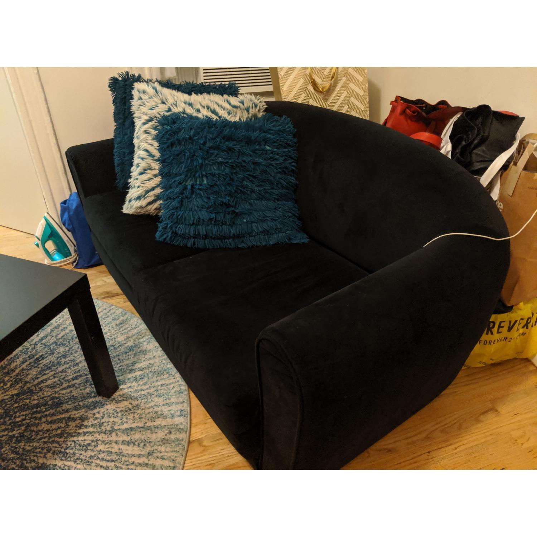 Black Suede Sleeper Sofa - image-2