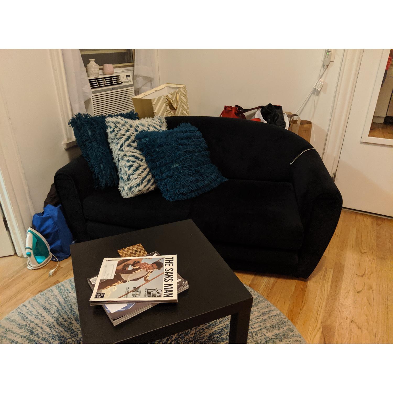 Black Suede Sleeper Sofa - image-3