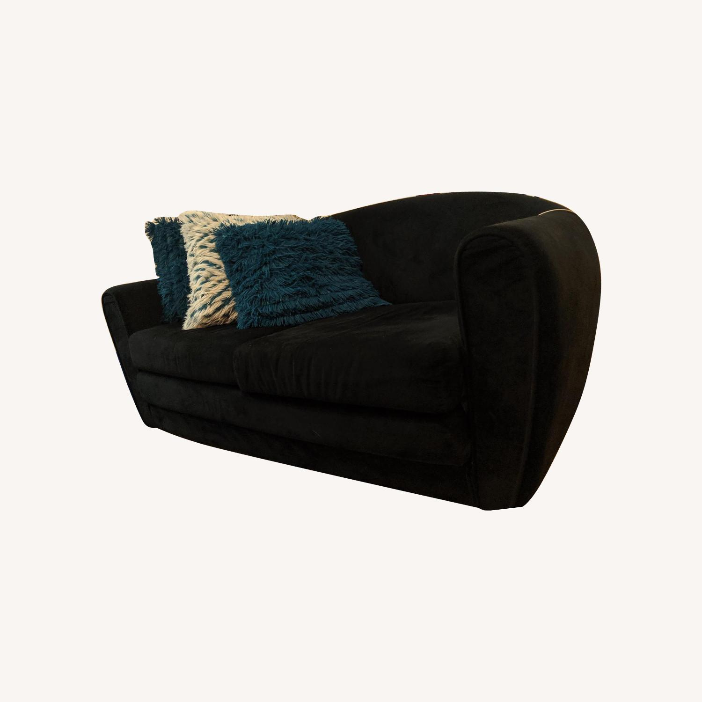 Black Suede Sleeper Sofa - image-0