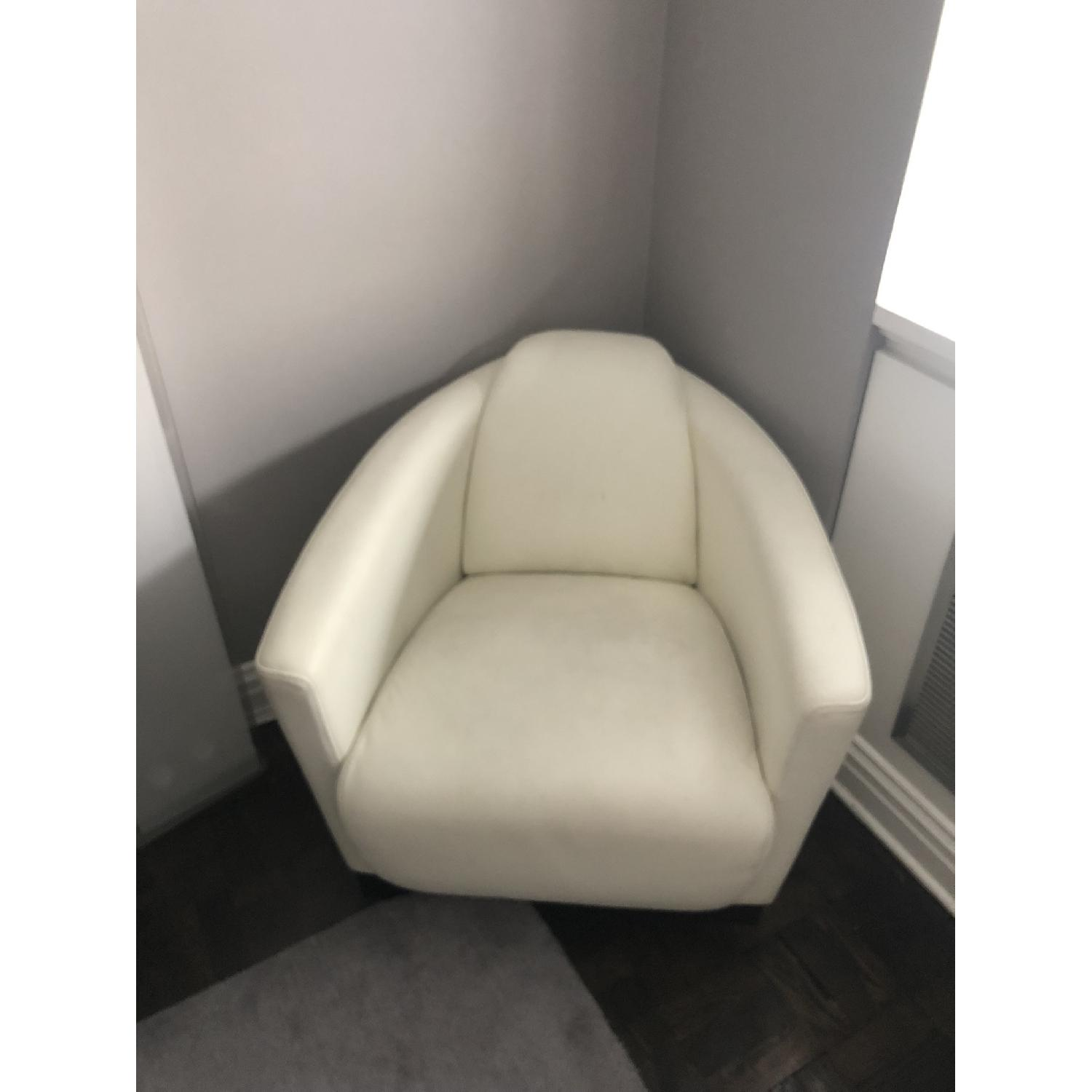 Nicoletti Hollister White Leather Armchair w/ Wood Base - image-1