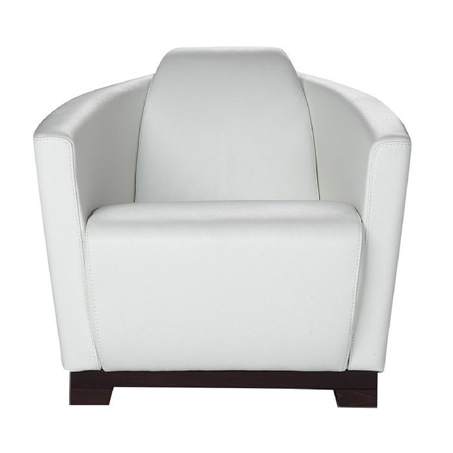 Nicoletti Hollister White Leather Armchair w/ Wood Base - image-0