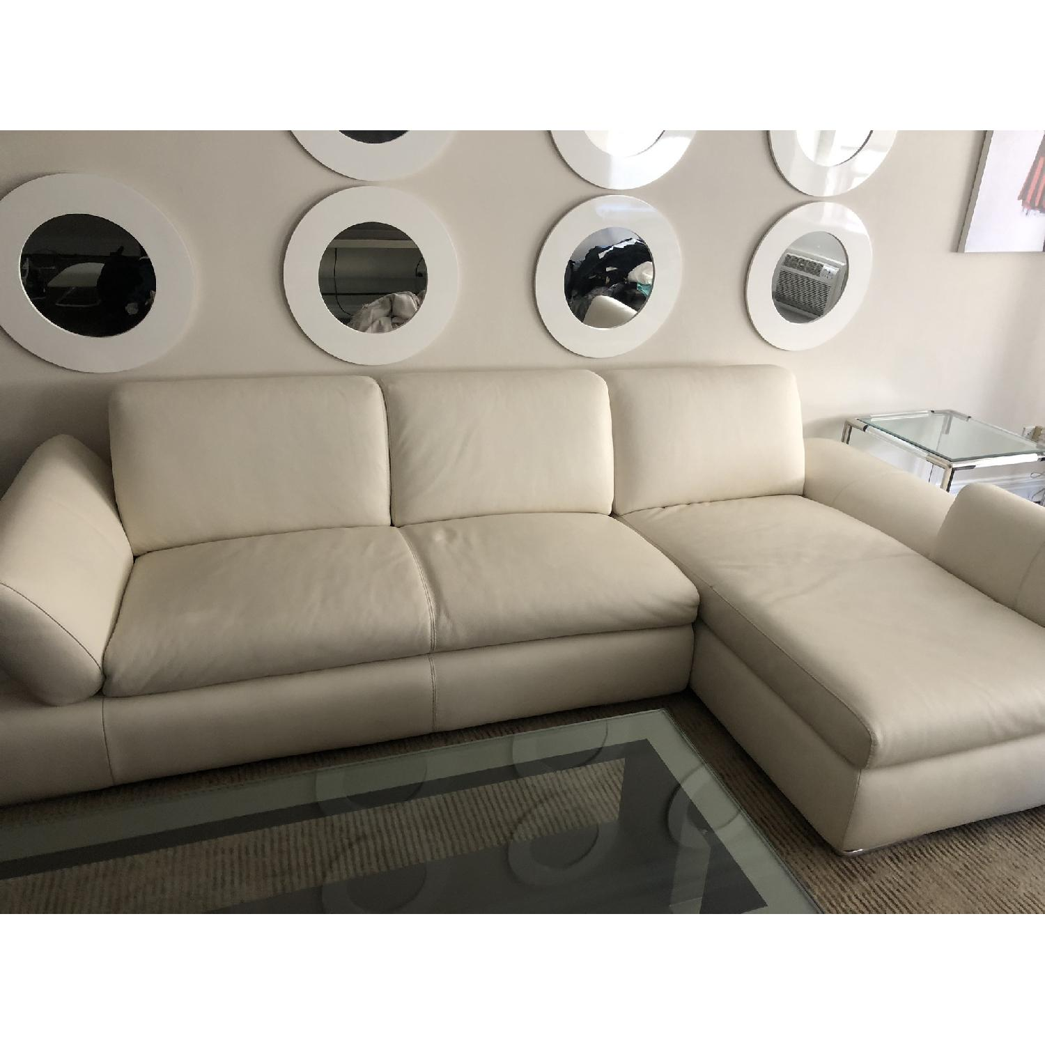 Nicoletti Home White Leather 2-Piece Sectional Sofa - image-1