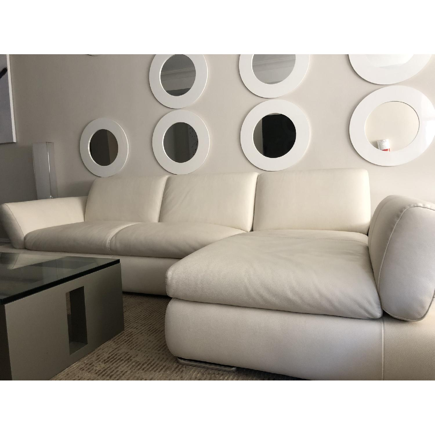 Nicoletti Home White Leather 2-Piece Sectional Sofa - image-2