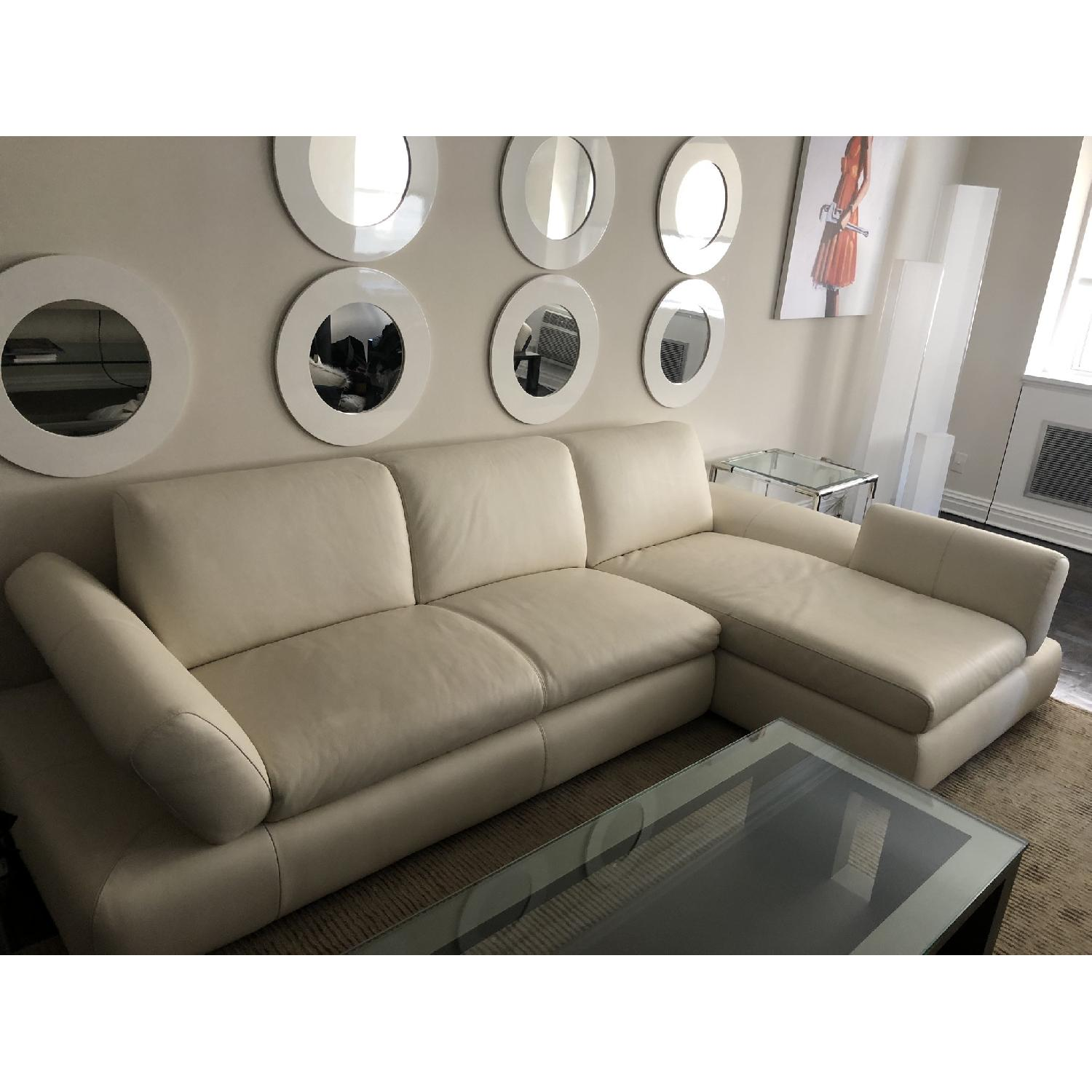 Nicoletti Home White Leather 2-Piece Sectional Sofa - image-3