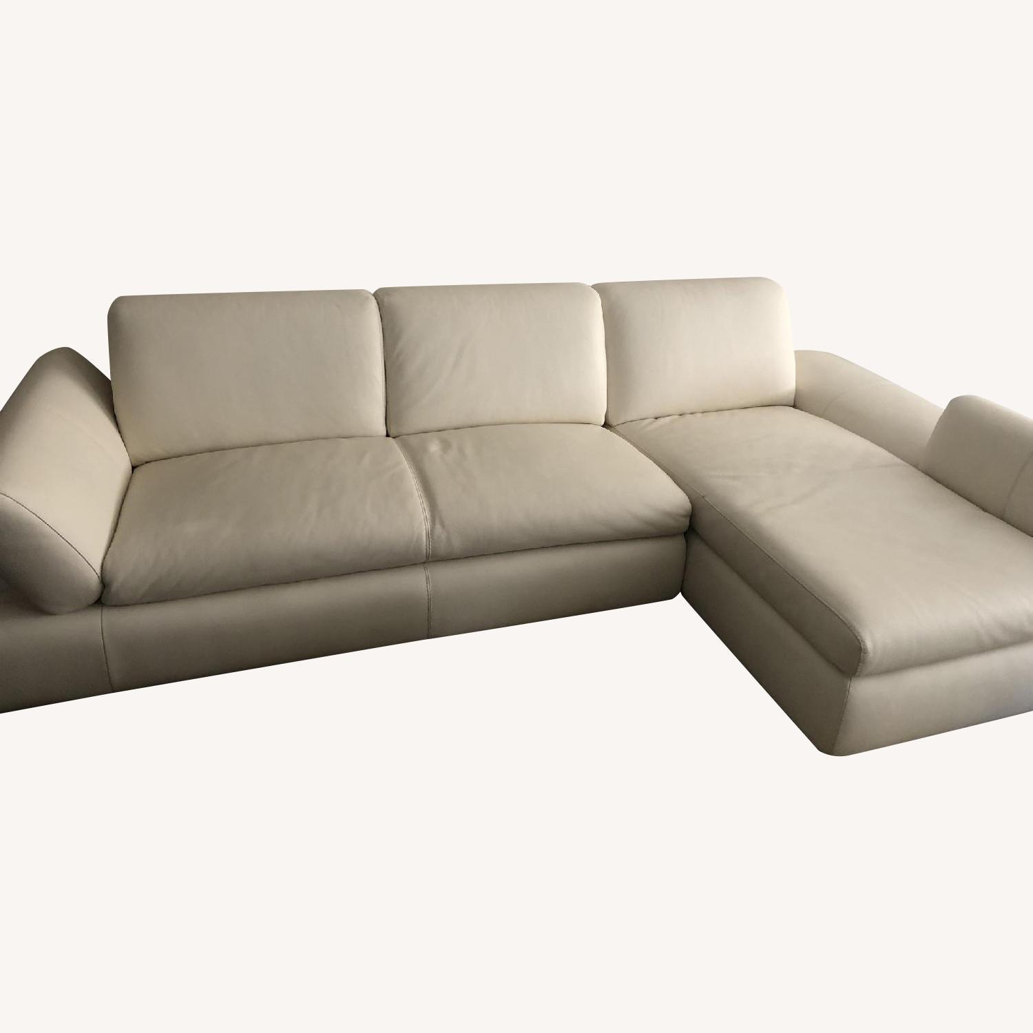 Nicoletti Home White Leather 2-Piece Sectional Sofa - image-0