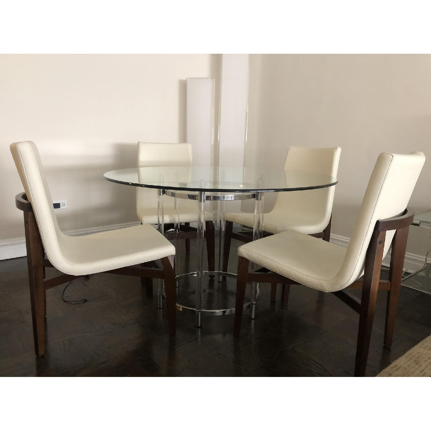 Glass Dining Table w/ 4 White Leather & Wood Dining Chairs - image-1