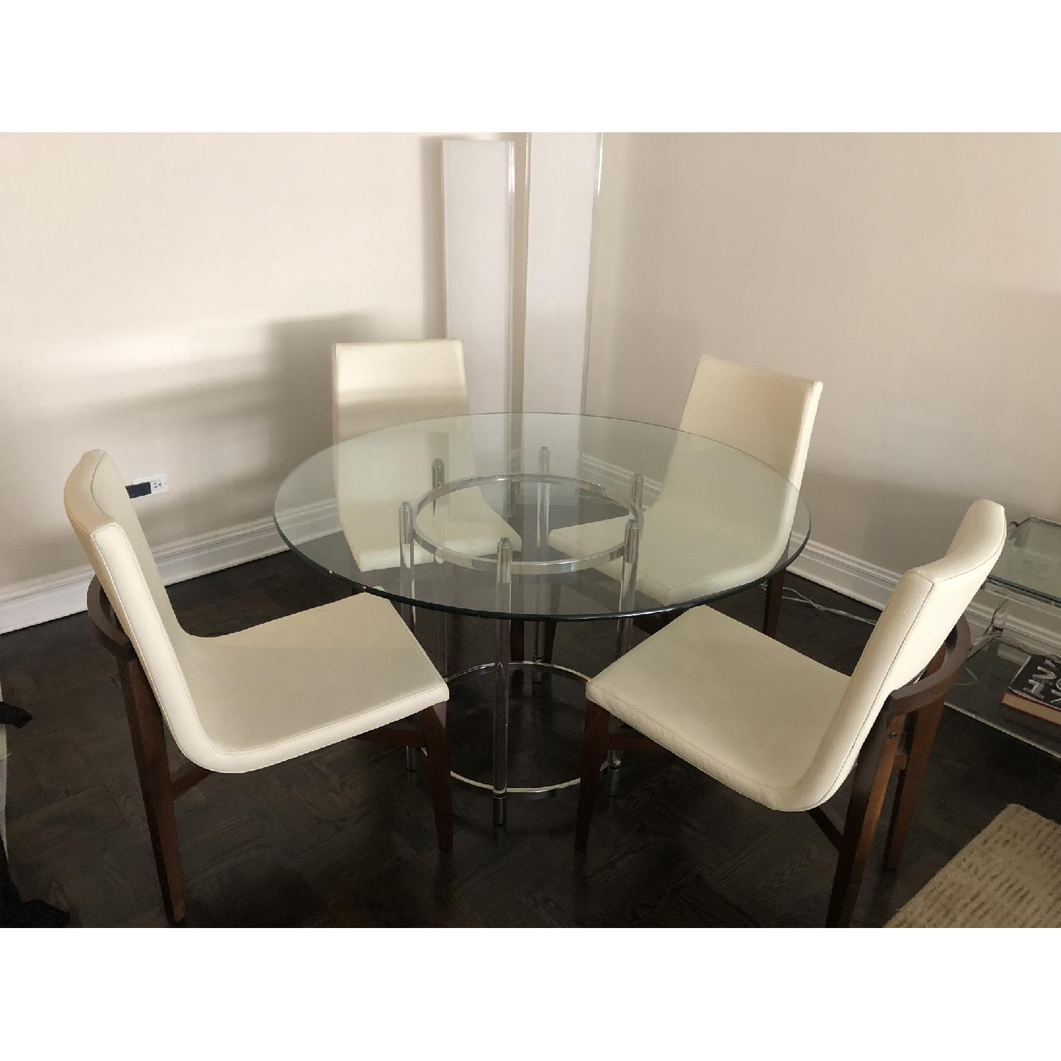 Glass Dining Table w/ 4 White Leather & Wood Dining Chairs - image-2