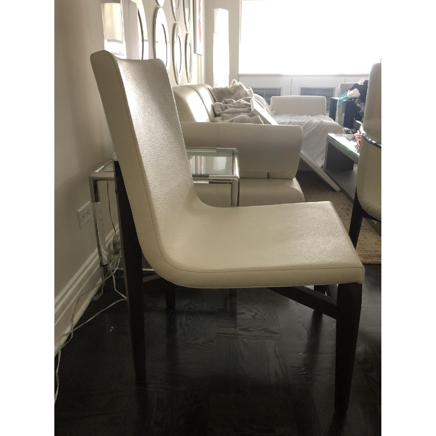 Glass Dining Table w/ 4 White Leather & Wood Dining Chairs - image-3