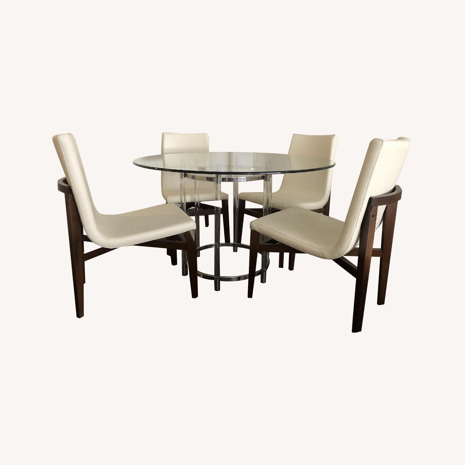 Glass Dining Table w/ 4 White Leather & Wood Dining Chairs - image-0
