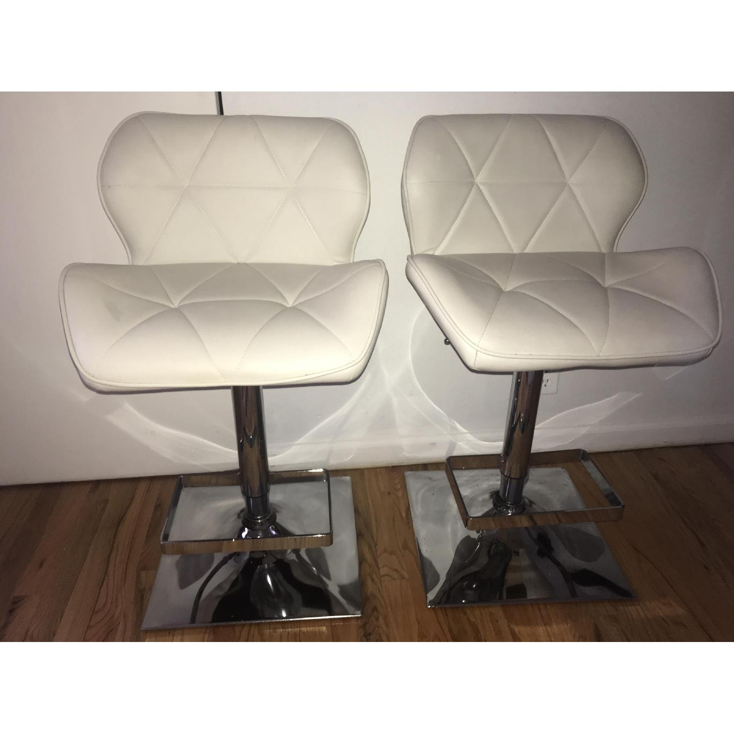 Anji Tianwei Steel White Faux Leather Bar Chairs - image-1