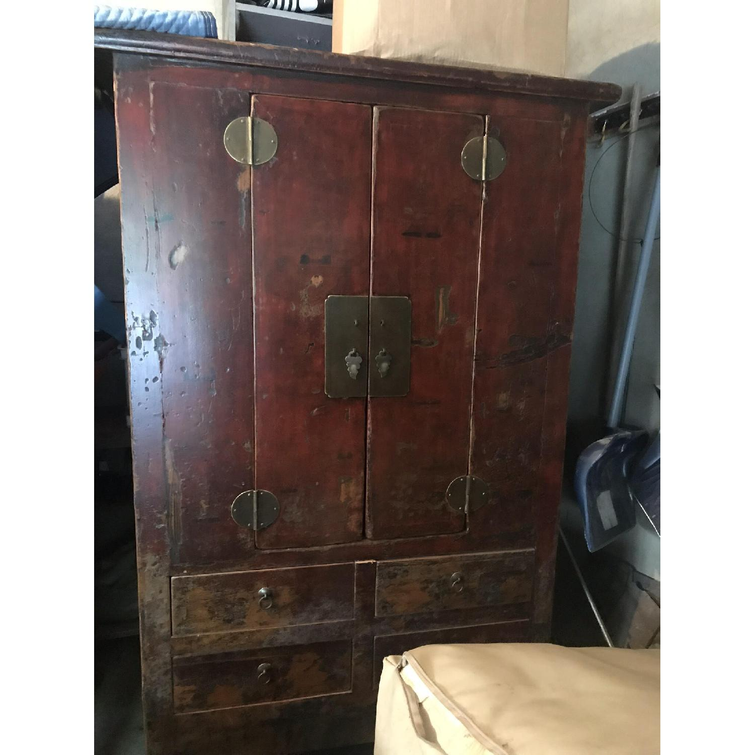 Deep Red Chinese Wood Cabinet - image-1