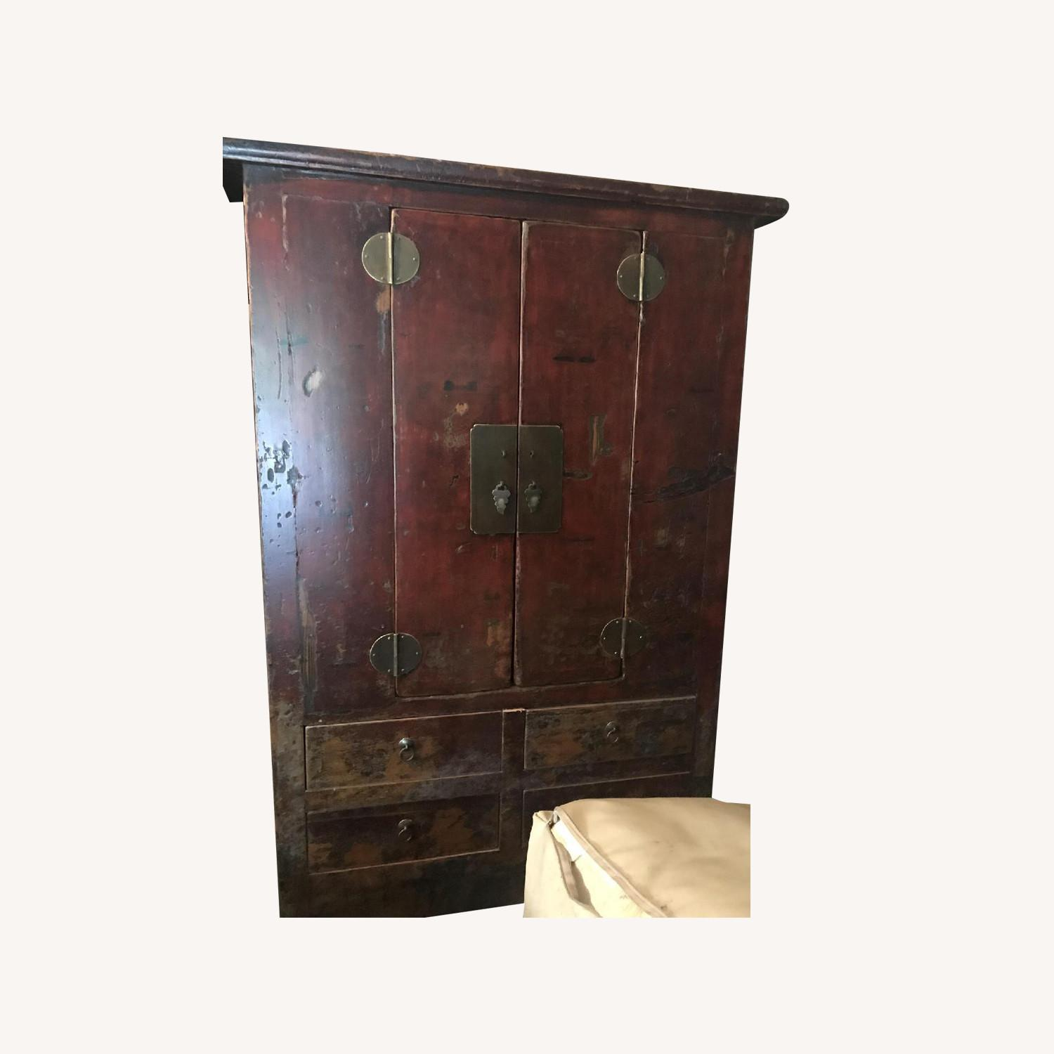 Deep Red Chinese Wood Cabinet - image-0